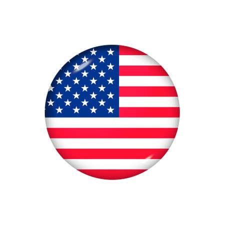 Icon flag of United States. Round glossy flag. Vector illustration.