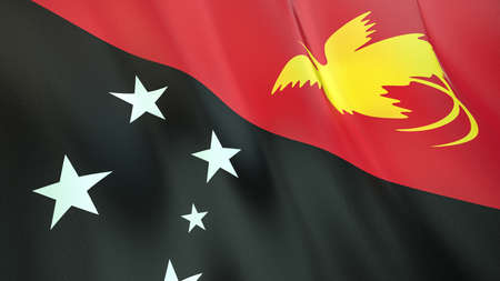 The waving flag of Papua New Guinea. High quality 3D illustration. Perfect for news, reportage, events. Фото со стока