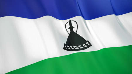 The waving flag of Lesotho. High quality 3D illustration. Perfect for news, reportage, events.