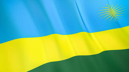 The waving flag of Rwanda. High quality 3D illustration. Perfect for news, reportage, events. Фото со стока
