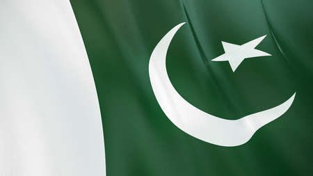 The waving flag of Pakistan. High quality 3D illustration. Perfect for news, reportage, events. Фото со стока