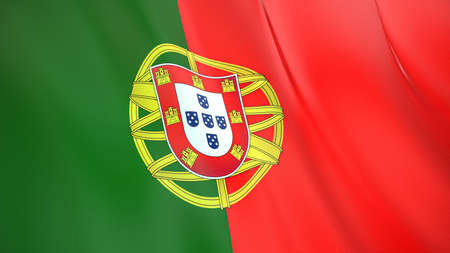 The waving flag of Portugal. High quality 3D illustration. Perfect for news, reportage, events.