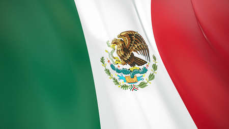 The waving flag of Mexico. High quality 3D illustration. Perfect for news, reportage, events.