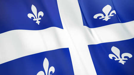 The waving flag of Quebec. High quality 3D illustration. Perfect for news, reportage, events.