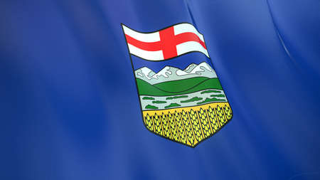 The waving flag of Alberta. High quality 3D illustration. Perfect for news, reportage, events. Фото со стока