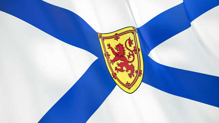 The waving flag of Nova Scotia. High quality 3D illustration. Perfect for news, reportage, events. Фото со стока