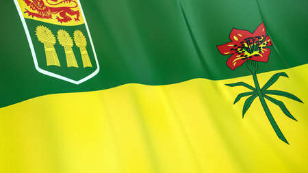 The waving flag of Saskatchewan. High quality 3D illustration. Perfect for news, reportage, events. Фото со стока