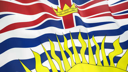 The waving flag of British Columbia. High quality 3D illustration. Perfect for news, reportage, events.