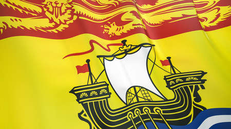 The waving flag of New Brunswick. High quality 3D illustration. Perfect for news, reportage, events. Фото со стока