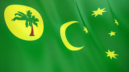 The waving flag of Cocos Islands. High quality 3D illustration. Perfect for news, reportage, events.