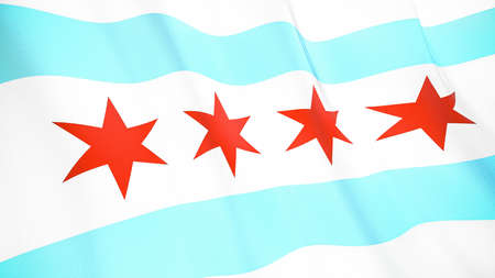 Fluttering flag of Chicago City. Illinois. United States. High-quality realistic render