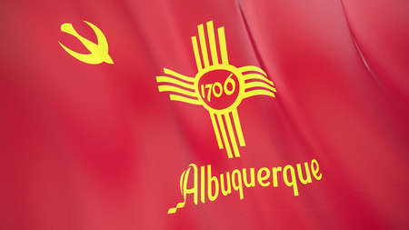 Fluttering flag of Albuquerque City. New Mexico. United States. High-quality realistic render