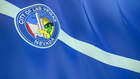 Fluttering flag of Las Vegas City. Nevada. United States. High-quality realistic render