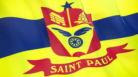 Fluttering flag of Saint Paul City. Minnesota. United States. High-quality realistic render