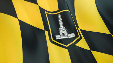 Fluttering flag of Baltimore City. Maryland. United States. High-quality realistic render Фото со стока