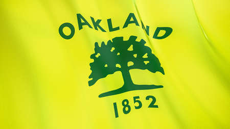 Fluttering flag of Oakland City. California. United States. High-quality realistic render