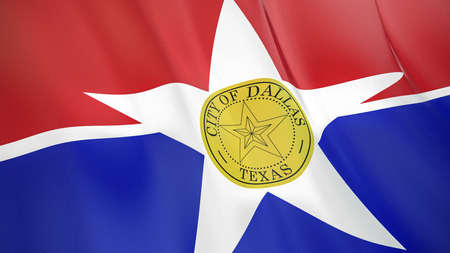 Fluttering flag of Dallas City. Texas. United States. High-quality realistic render