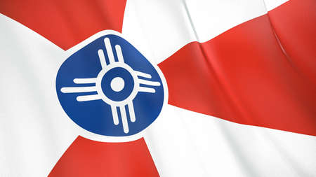 Fluttering flag of Wichita City. Kansas. United States. High-quality realistic render Фото со стока