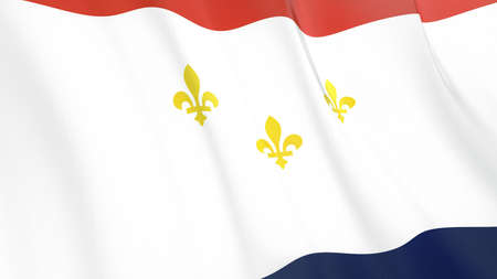 Fluttering flag of New Orleans City. Louisiana. United States. High-quality realistic render