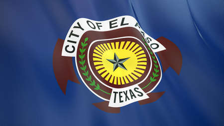 Fluttering flag of El Paso City. Texas. United States. High-quality realistic render