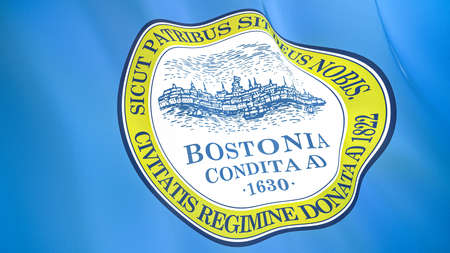 Fluttering flag of Boston City. Massachusetts. United States. High-quality realistic render Фото со стока