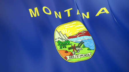 The waving flag of Montana. High quality 3D illustration. Perfect for news, reportage, events. Фото со стока