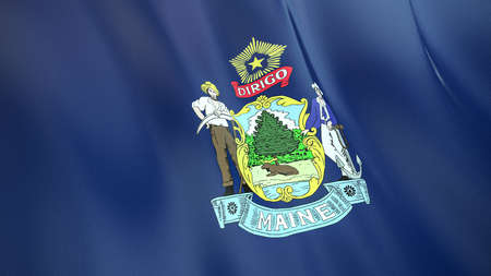 The waving flag of Maine. High quality 3D illustration. Perfect for news, reportage, events.