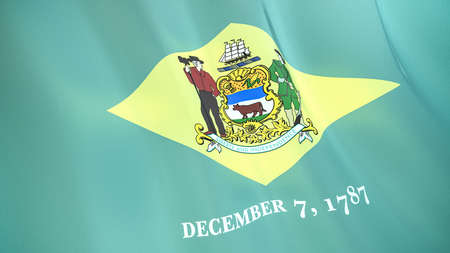 The waving flag of Delaware. High quality 3D illustration. Perfect for news, reportage, events.