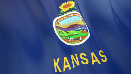 The waving flag of Kansas. High quality 3D illustration. Perfect for news, reportage, events.