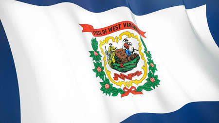 The waving flag of West Virginia. High quality 3D illustration. Perfect for news, reportage, events. Фото со стока