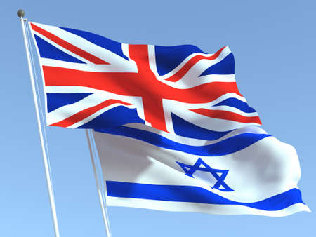 Two waving state flags of United Kingdom and Israel on the blue sky. High - quality business background. 3d illustration Banco de Imagens
