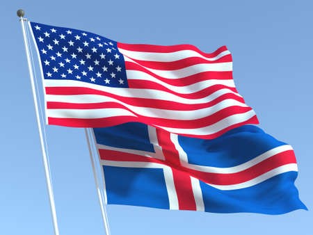 Two waving state flags of United States and Iceland on the blue sky. High - quality business background. 3d illustration