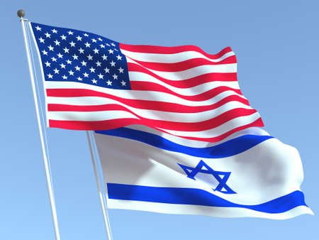 Two waving state flags of United States and Israel on the blue sky. High - quality business background. 3d illustration