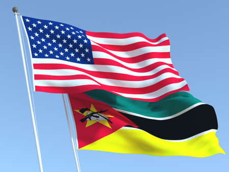 Two waving state flags of United States and Mozambique on the blue sky. High - quality business background. 3d illustration