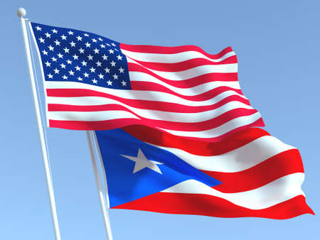 Two waving state flags of United States and Puerto Rico state on the blue sky. High - quality business background. 3d illustration
