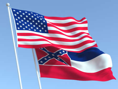 Two waving state flags of United States and Mississippi state on the blue sky. High - quality business background. 3d illustration 版權商用圖片 - 156895987
