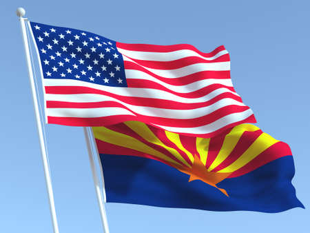 Two waving state flags of United States and Arizona state on the blue sky. High - quality business background. 3d illustration