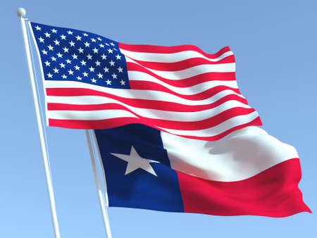 Two waving state flags of United States and Texas state on the blue sky. High - quality business background. 3d illustration 免版税图像