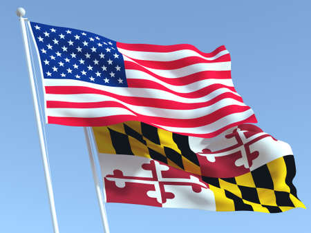 Two waving state flags of United States and Maryland state on the blue sky. High - quality business background. 3d illustration