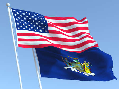 Two waving state flags of United States and New York state on the blue sky. High - quality business background. 3d illustration