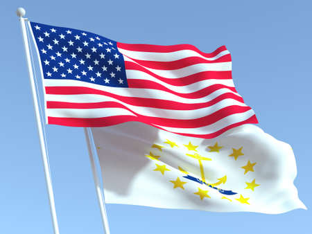 Two waving state flags of United States and Rhode Island state on the blue sky. High - quality business background. 3d illustration 免版税图像