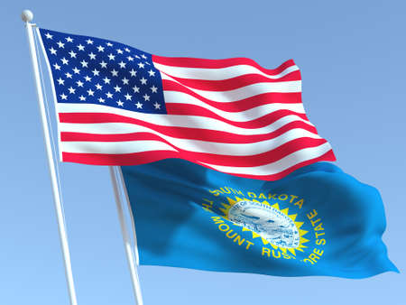Two waving state flags of United States and South Dakota state on the blue sky. High - quality business background. 3d illustration