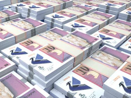 Money of Macedonia. Macedonian denar bills. MKD banknotes. 10 denari. Business, finance, news background.