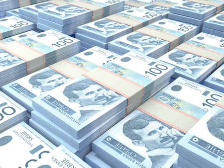 Money of Serbia. Serbian dinar bills. RSD banknotes. 100 dinari. Business, finance, news background.