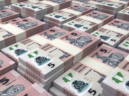 Money of Nigeria. Nigerian naira bills. NGN banknotes. 5 polymer. Business, finance, news background.