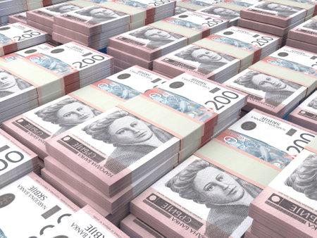 Money of Serbia. Serbian dinar bills. RSD banknotes. 200 dinari. Business, finance, news background.