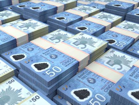 Money of Uruguay. Uruguayan peso bills. UYU banknotes. 50 pesos. Business, finance, news background.
