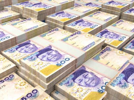 Money of Nigeria. Nigerian naira bills. NGN banknotes. 500 polymer. Business, finance, news background.