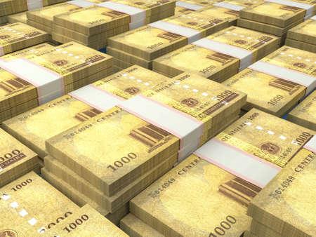 Money of Nigeria. Nigerian naira bills. NGN banknotes. 1000 polymer. Business, finance, news background. 免版税图像