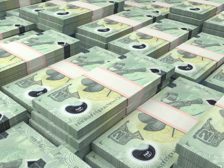 Money of Papua New Guinea. Papua New Guinean kina bills. PGK banknotes. 2 kina. Business, finance, news background. 免版税图像